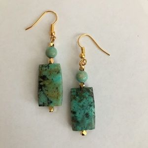 Natural turquoise gold plated earrings